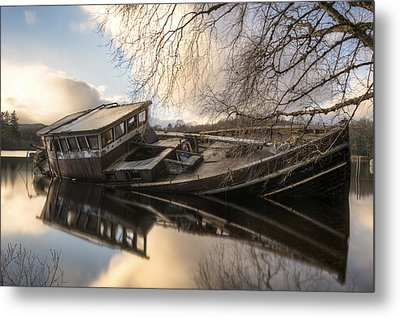 Boat Wreck On Loch Ness Metal Print