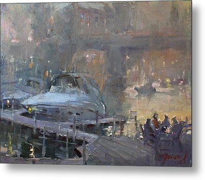 Boaters At Dusk Metal Print by Ylli Haruni