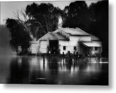 Metal Print featuring the photograph Boathouse Bw by Bill Wakeley