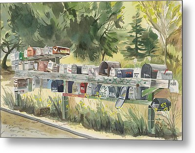 Boathouse Mailboxes Metal Print by Kate Peper