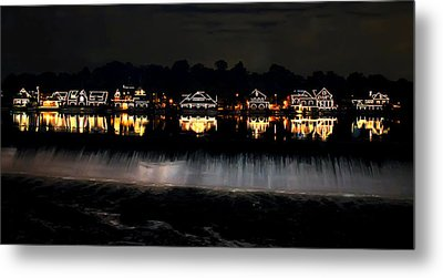 Boathouse Row After Dark Metal Print by Bill Cannon