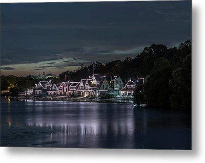 Boathouse Row Philadelphia Pa At Night  Metal Print by Terry DeLuco