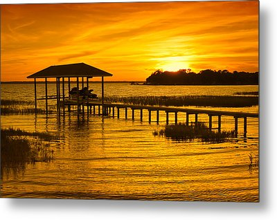 Boathouse Sunset Metal Print by Rich Leighton