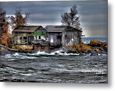 Boathouses In Autumn Metal Print by Matthew Winn