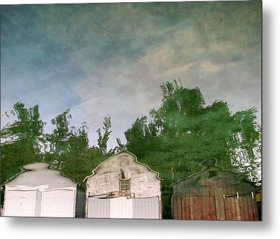 Boathouses With Sky And Trees Metal Print by Michelle Calkins