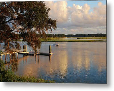 Metal Print featuring the photograph Boating At Sunset by Margaret Palmer