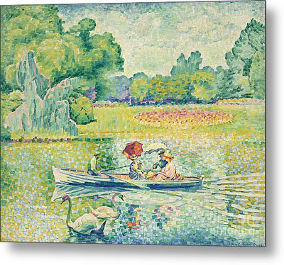 Boating In The Bois De Boulogne Metal Print by Henri-Edmond Cross
