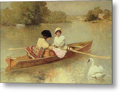 Boating On The Seine Metal Print by Ferdinand Heilbuth