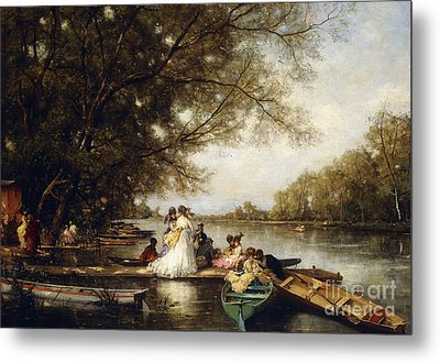 Boating Party On The Thames Metal Print by Ferdinand Heilbuth