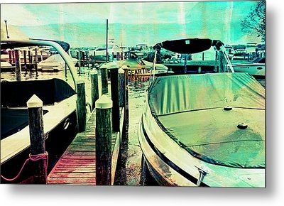 Metal Print featuring the photograph Boats And Dock by Susan Stone