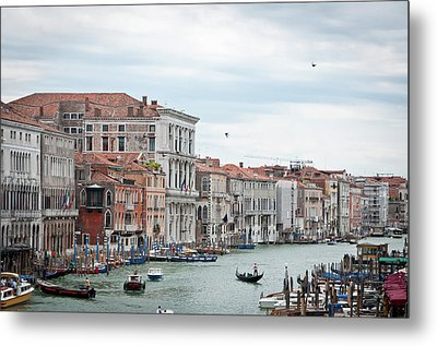 Boats And Gondolas In Grand Canal Metal Print by AlexandraR
