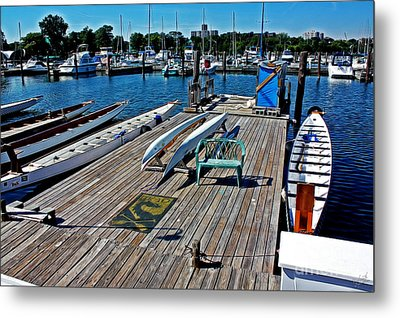 Boats At An Empty Dock 1 Metal Print