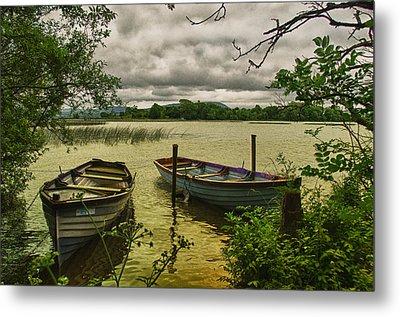 Boats At Holy Island County Clare Ireland Metal Print by Joe Houghton