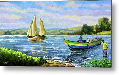 Metal Print featuring the painting Boats At Lake Victoria by Anthony Mwangi
