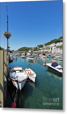 Boats At Looe In Cornwall Metal Print
