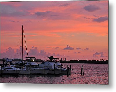 Boats At Sunset Metal Print by Rose  Hill