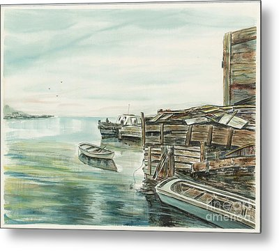 Boats At The Dock Metal Print by Samuel Showman