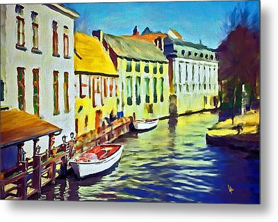 Boat In Channel Little White Boat Small Boat Painting Old Boat Painting Abstract Boat Art Countrysid Metal Print