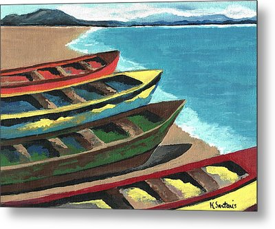 Metal Print featuring the painting Boats In A Row by Kathleen Sartoris