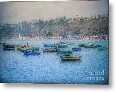 Metal Print featuring the photograph Boats In Blue Twilight - Lima, Peru by Mary Machare