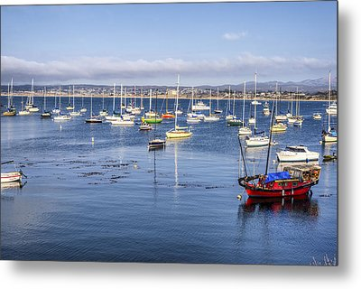 Boats In Monterey Bay Metal Print