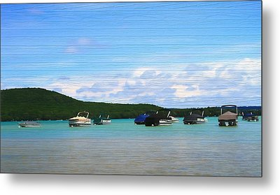 Boats In Sleeping Bear Bay Wood Texture Metal Print by Dan Sproul