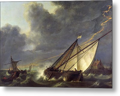Boats In The Estuary Of Holland Diep In A Storm Metal Print by Aelbert Cuyp