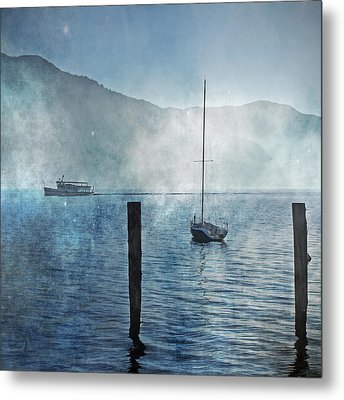 Boats In The Fog Metal Print