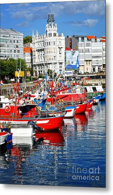 Boats In The Harbor - La Coruna Metal Print
