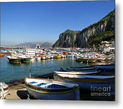 Boats In The Harbor Metal Print by Sue Melvin
