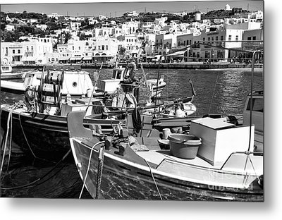 Boats In The Mykonos Harbor Mon Metal Print by John Rizzuto