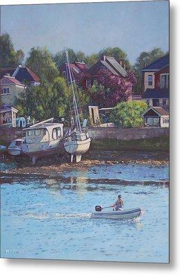 Boats On Riverside Park Bank Metal Print by Martin Davey