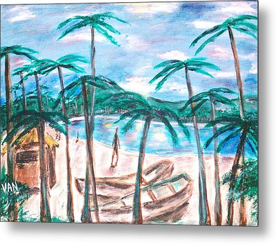 Boats On The Beach Metal Print by Van Winslow