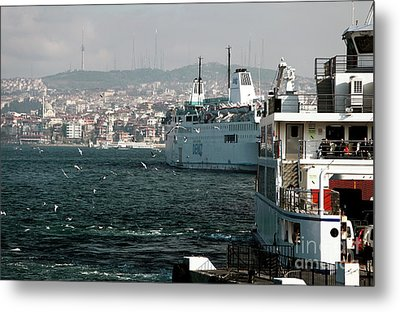 Boats On The Bosphorus Metal Print by John Rizzuto