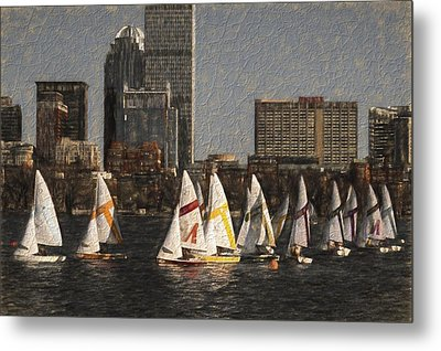 Boats On The Charles River Boston Ma Metal Print by Toby McGuire