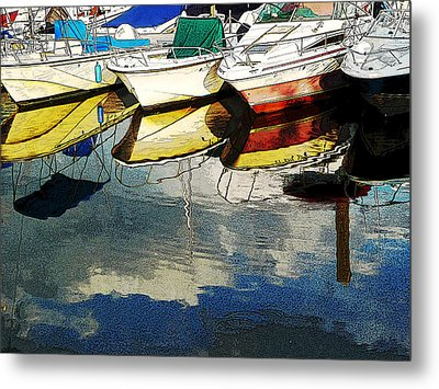 Boats Reflected - Poster     1st Place Award At Uconn Art Show  Metal Print by Margie Avellino