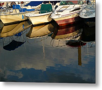Boats Reflected Metal Print by Margie Avellino
