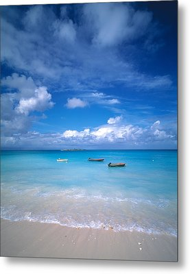 Boats Tropical Caribbean Sea Antilles Metal Print by Panoramic Images