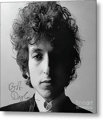 Bob Dylan Art With Autograph Metal Print