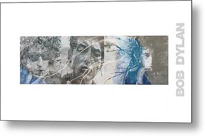 Bob Dylan Triptych Metal Print