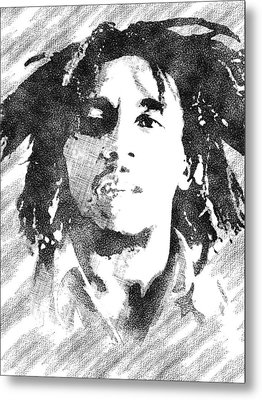 Bob Marley Bw Portrait Metal Print