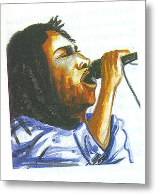 Metal Print featuring the painting Bob Marley by Emmanuel Baliyanga