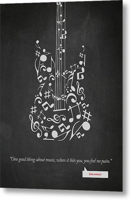 Bob Marley Quote - One Good Thing About Music... 02 Metal Print