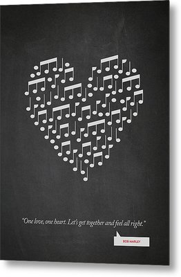 Bob Marley Quote - One Love, One Heart ...02 Metal Print by Aged Pixel
