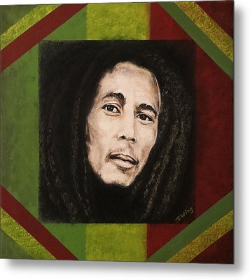 Metal Print featuring the painting Bob Marley by Teresa Wing