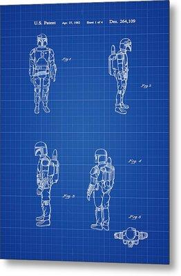Boba Fett Toy Patent 1982 In Blue Print Metal Print