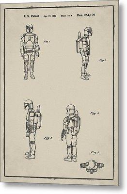 Boba Fett Toy Patent 1982 In Sepia Metal Print