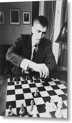 Bobby Fischer 1943-2008 Competing At An Metal Print by Everett