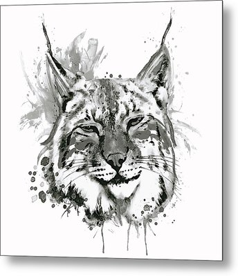 Bobcat Head Black And White Metal Print