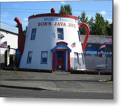 Bob's Java Jive Coffee Pot Metal Print by Kym Backland